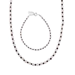 White Topaz Set of Bead Bracelet & Necklace with Black Spinel in Sterling Silver 33.48ct