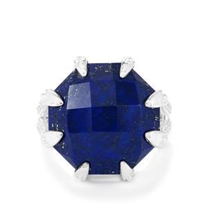 Sar-i-Sang Lapis Lazuli & White Topaz Sterling Silver Ring ATGW 17.13cts