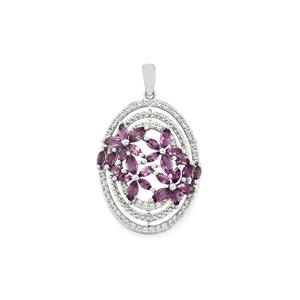 Ametista Amethyst Pendant with White Topaz in Sterling Silver 3.16cts
