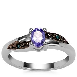 Tanzanite Ring with Blue Diamond in Sterling Silver 0.52cts