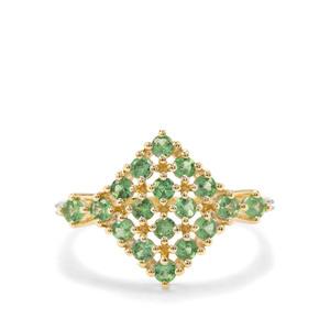 Tsavorite Garnet & White Diamond 9K Gold Ring ATGW 1.02cts