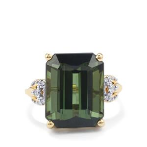 Green Tourmaline Ring with Diamond in 18K Gold 11.90cts