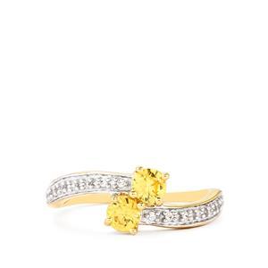Ceylon Zircon Ring with White Zircon in 10k Gold 0.84cts