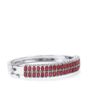Malagasy Ruby & White Zircon Sterling Silver Oval Bangle ATGW 15.49cts (F)