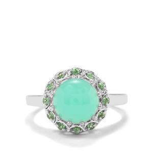 Prase Green Opal & Tsavorite Garnet Sterling Silver Ring ATGW 2.93cts