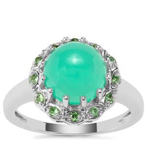 Prase Green Opal Ring with Tsavorite Garnet in Sterling Silver 2.93cts
