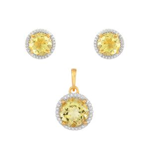 Green Gold Quartz Set  in Gold Plated Sterling Silver 6.54cts