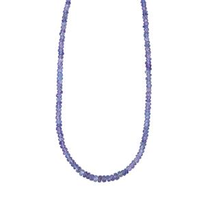 Tanzanite Graduated Bead Necklace in Sterling Silver 39cts