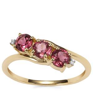 Cruzeiro Pink Tourmaline Ring with Diamond in 9K Gold 0.93ct