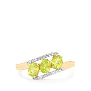 Pakistani Peridot Ring with White Zircon in 9K Gold 1.21cts