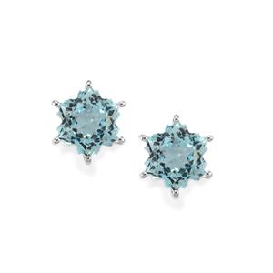 5.65ct Sky Blue Topaz 9K White Gold Wobito Snowflake Earrings