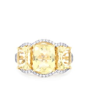 Serenite Ring with White Zircon in 9K Gold 5.52cts