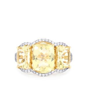 Serenite & White Zircon 10K Gold Ring ATGW 5.52cts