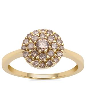 Champagne Diamond Ring in 9K Gold 0.75ct