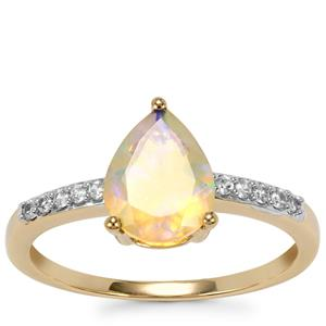 Ethiopian Opal Ring with White Zircon in 9K Gold 1cts