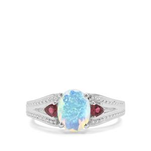 Ethiopian Opal & Oyo Pink Tourmaline Sterling Silver Ring ATGW 1.37cts