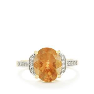 Oregon Sunstone & Diamond 14k Gold Tomas Rae Ring ATGW 3.19cts
