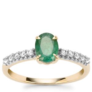 Bahia Emerald Ring with White Zircon in 10K Gold 1.19cts
