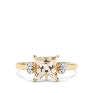Cuprian Sunstone & Diamond 9K Gold Ring ATGW 1.64cts