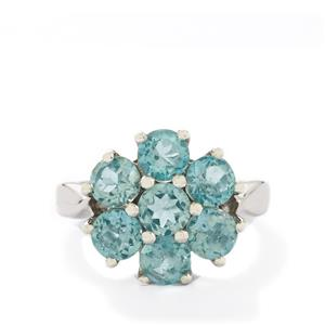3.68ct Madagascan Blue Apatite Sterling Silver Ring