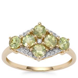 Ambanja Demantoid Garnet Ring with White Zircon in 9K Gold 1.37cts
