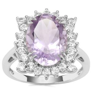 Rose De France Amethyst Ring with White Topaz in Sterling Silver 6.27cts