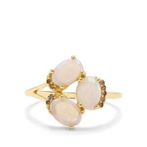 Coober Pedy Opal & Champagne Diamond 9K Gold Ring ATGW 1.31cts