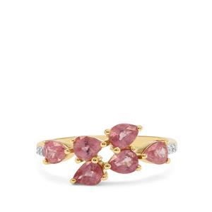 Padparadscha Sapphire & Diamond 9K Gold Ring ATGW 1.82cts