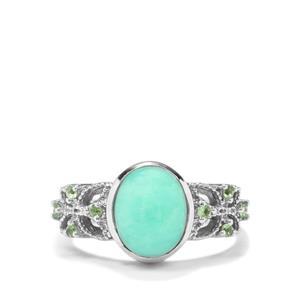 Prase Green Opal & Tsavorite Garnet Sterling Silver Ring ATGW 2.47cts