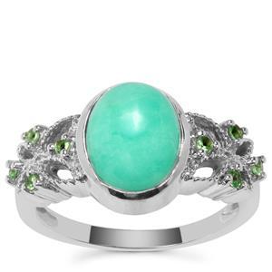 Prase Green Opal Ring with Tsavorite Garnet in Sterling Silver 2.47cts