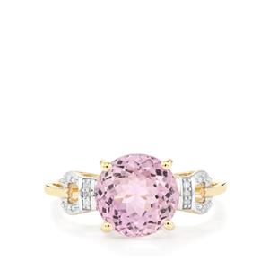 Mawi Kunzite Ring with Diamond in 10k Gold 4.26cts
