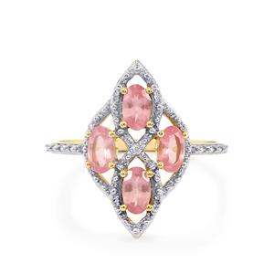 Mozambique Pink Spinel & Diamond 9K Gold Ring ATGW 1.02cts
