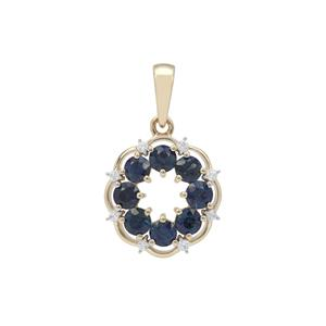 Australian Blue Sapphire Pendant with White Zircon in 9K Gold 1.45cts