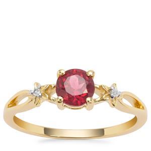 Malawi Garnet Ring with White Diamond in 9K Gold 0.89ct