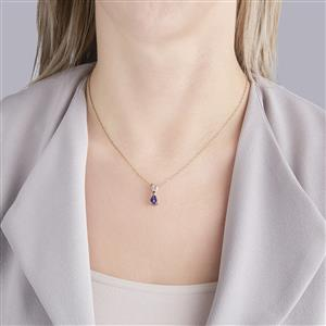 AA Tanzanite Pendant with Diamond in 10k Gold 1.09cts