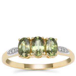 Green Dragon Demantoid Garnet Ring with Diamond in 9k Gold 1.35cts