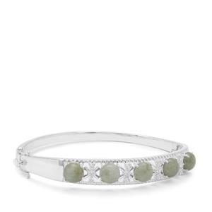 Type A Burmese Jadeite Bangle with White Zircon in Sterling Silver 9.91cts