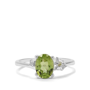 Red Dragon Peridot & White Zircon Sterling Silver Ring ATGW 1.48cts