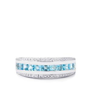 Swiss Blue Topaz Ring with White Topaz in Sterling Silver 1.26cts