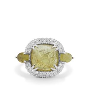 Grossular Ring with White Zircon in Sterling Silver 7.40cts