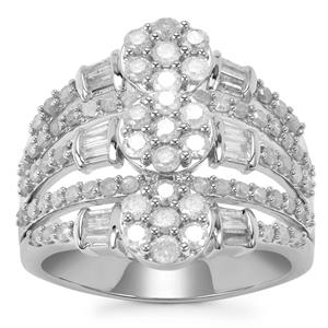 Diamond Ring in Sterling Silver 1.50ct