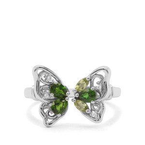 Chrome Diopside, Red Dragon Peridot & White Zircon Sterling Silver Butterfly Ring ATGW 0.78cts