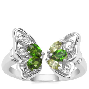 Chrome Diopside, Red Dragon Peridot Ring with White Zircon in Sterling Silver 0.78ct