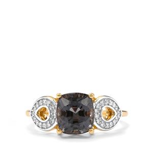 Burmese Spinel Ring with Diamond in 18K Gold 2.83cts
