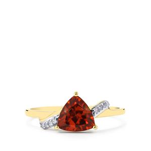 Zanzibar Sunburst Zircon Ring with Diamond in 10k Gold 1.79cts