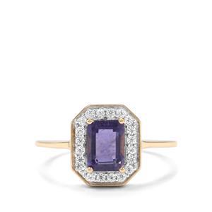Bengal Iolite & White Zircon 9K Gold Ring ATGW 1.09cts
