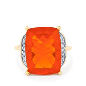 Orange American Fire Opal Ring with Diamond in 14k Gold 7.49cts