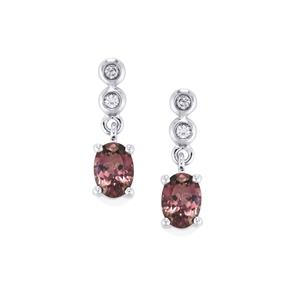 Mahenge Purple Spinel Earrings with White Zircon in 10K White Gold 2.04cts