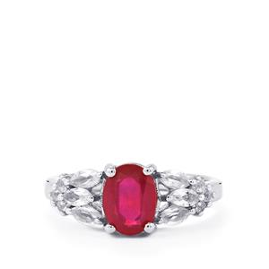 Malagasy Ruby Ring with White Topaz in Sterling Silver 2.74cts (F)