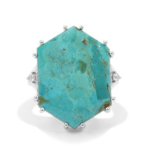 Cochise Turquoise Ring with White Zircon in Sterling Silver 16.20cts